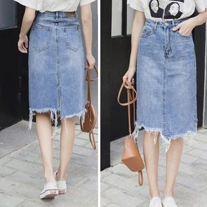 Uneven Slim Distressed Denim Skirt - Light Washed